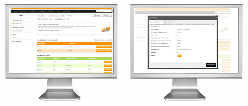 Example Direct Debit screens